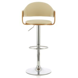 An Image of Emden Bar Stool In Walnut And Cream PU With Chrome Base