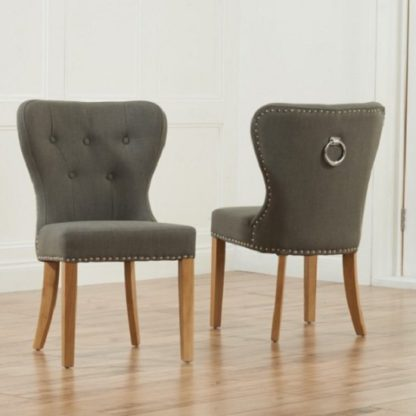 An Image of Wallace Dining Chair In Grey Fabric With Oak Legs In A Pair
