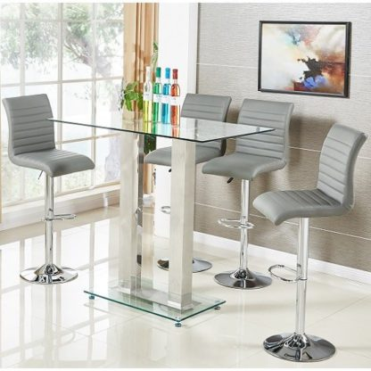 An Image of Jet Glass Bar Table In Clear With 4 Ripple Grey Bar Stools