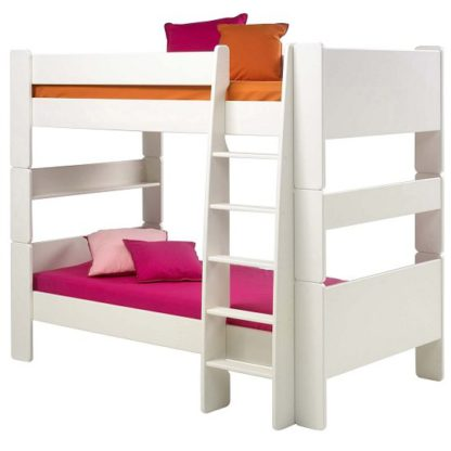 An Image of Pathos Wooden Bunk Bed In White With Ladder