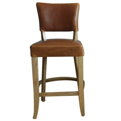 An Image of Epping PU Leather Bar Chair In Tan Brown With Wooden Frame