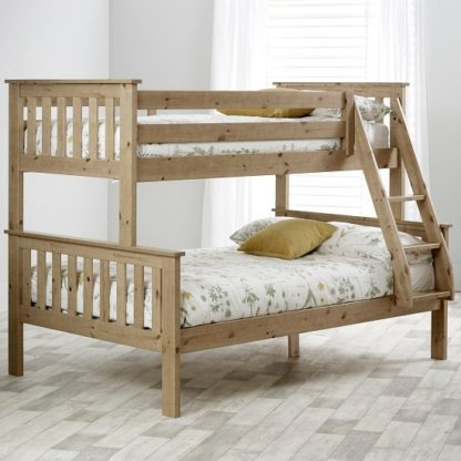 An Image of Katie Wooden Triple Sleeper Bunk Bed In Lacquered Pine