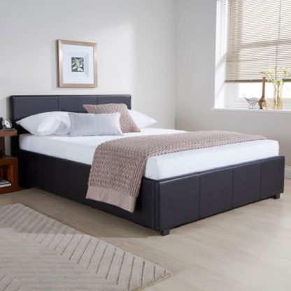 An Image of Side Lift Ottoman Faux Leather Double Bed In Black