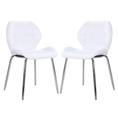 An Image of Darcy Dining Chair In White Faux Leather in A Pair