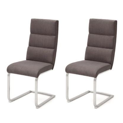 An Image of Hiulia Brown Leather Cantilever Dining Chair In A Pair