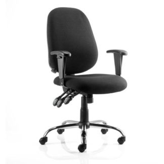 An Image of Lisbon Task Fabric Office Chair In Black With Arms