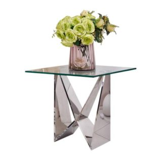 An Image of Diego Glass Side Table Square In Clear With Stainless Steel Base