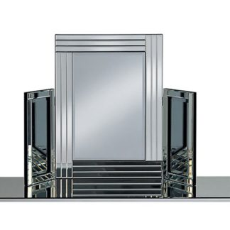 An Image of Elena Dressing Table Mirror In Silver With Triple Bar