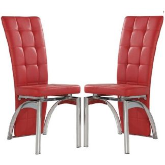 An Image of Ravenna Dining Chair In Red Faux Leather in A Pair