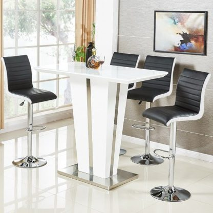 An Image of Memphis Glass Bar Table High Gloss White 4 Ritz Black Stools
