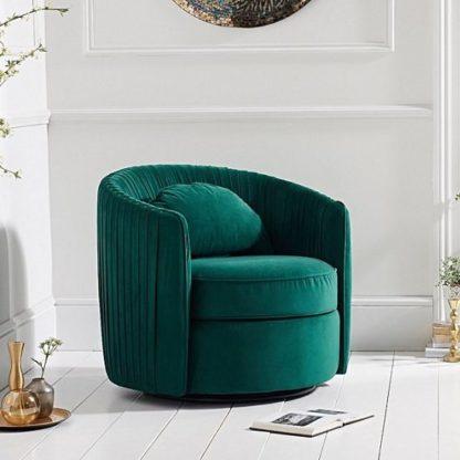 An Image of Medan Modern Swivel Sofa Chair In Green Velvet