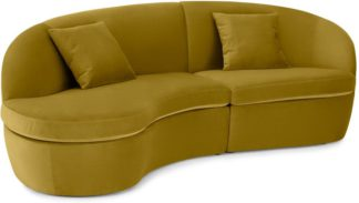 An Image of Reisa Left Hand Facing Chaise End Sofa, Vintage Gold Velvet