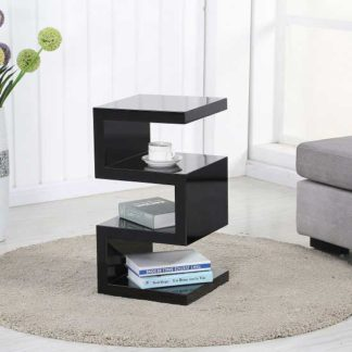 An Image of Trio Modern Side Table In Black High Gloss