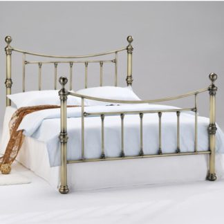 An Image of Charlotte Metal Double Bed In Antique Brass