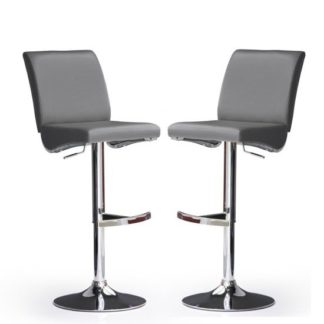An Image of Diaz Bar Stools In Grey Faux Leather in A Pair