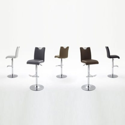 An Image of Aachen White Faux Leather Seat Gas Lift Bar Stool