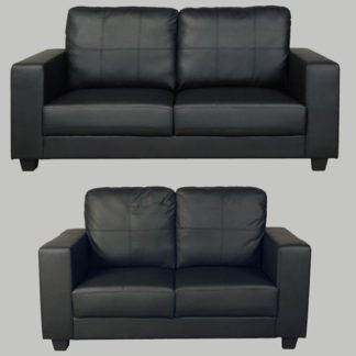 An Image of Okul Faux Leather 3 Seater Sofa And 2 Seater Sofa Suite In Black