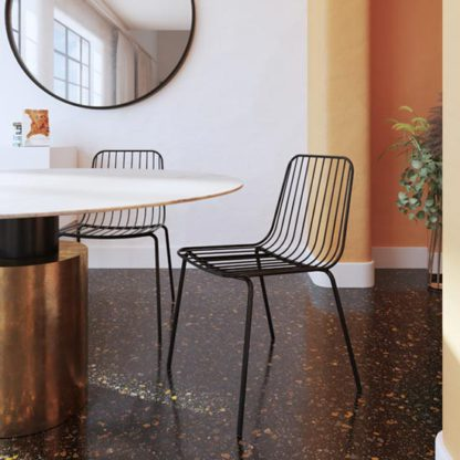 An Image of Caden Black Wired Design Dining Chairs In Pair