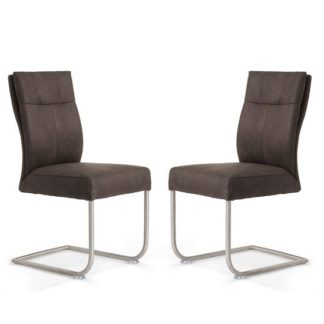An Image of Farren Cantilever Dining Chair In Anthracite PU In A Pair