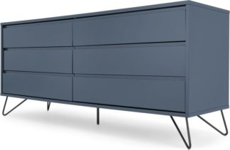 An Image of Elona Wide Chest of Drawers, Slate Blue & Black
