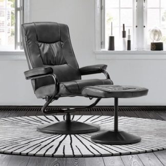 An Image of Maison Relaxing Swivel Chair And Footstool In Black Faux Leather