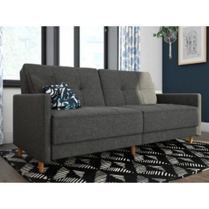 An Image of Andora Leather Sprung Sofa Bed In Grey Linen With Wooden Legs