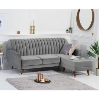 An Image of Corwin Velvet Sofa Bed In Grey With Angled Solid Wood Feet