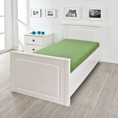 An Image of Danzig Modern Wooden Single Bed In White