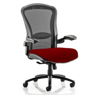 An Image of Houston Heavy Black Back Office Chair With Ginseng Chilli Seat