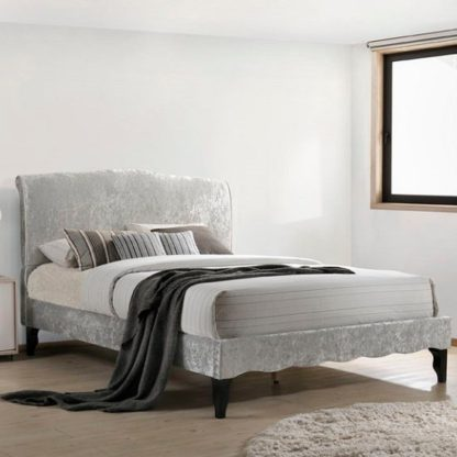 An Image of Orbit Fabric Double Bed In Ice Crushed Velvet With Wooden Legs