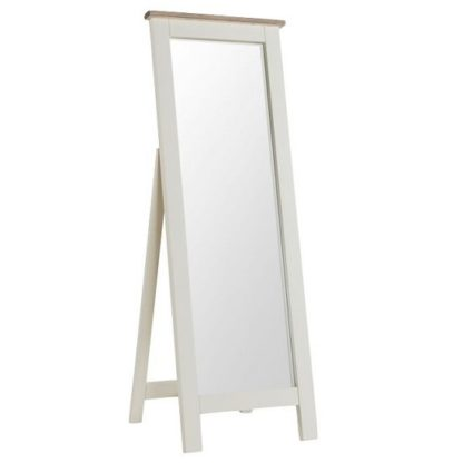 An Image of Alaya Cheval Mirror In Stone White Finish