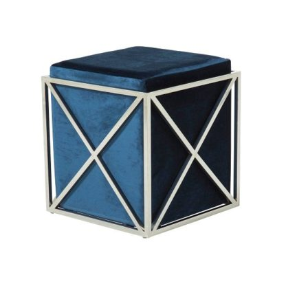 An Image of Farran Stool In Blue Velvet With Polished Stainless Steel