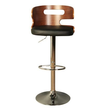 An Image of Issac Wooden Bar Stool In Black Faux Leather With Chrome Base