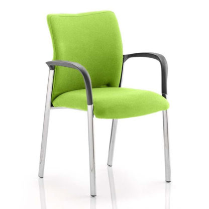 An Image of Academy Fabric Back Visitor Chair In Myrrh Green With Arms