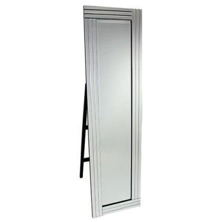 An Image of Bevelled Clear Three Lined Square Cut Frame Freestanding Mirror