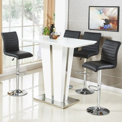 An Image of Memphis Glass Bar Table In High Gloss White And 4 Ripple Stools
