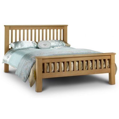An Image of Amsterdam Wooden High Foot End King Size Bed In Oak