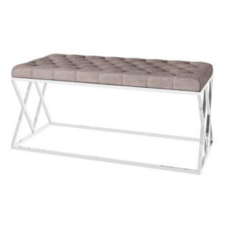 An Image of Adele Velvet Fabric Upholstered Dining Bench In Mink