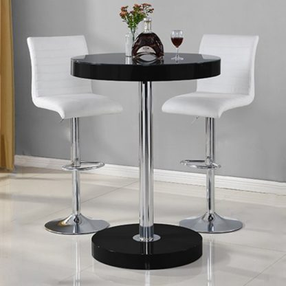 An Image of Havana Bar Table In Black With 2 Ripple White Bar Stools
