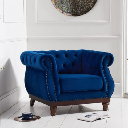 An Image of Ruskin Sofa Chair In Blue Plush With Dark Ash Legs