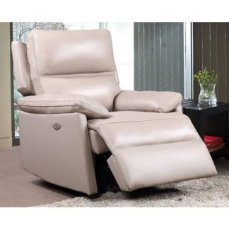 An Image of Bailey Faux Leather Electric Recliner Armchair In Taupe