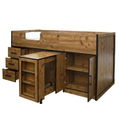 An Image of Janessa Wooden Mid Sleeper Bed In Vintage Oak With Black Frame