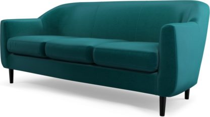 An Image of Custom MADE Tubby 3 Seater Sofa, Tuscan Teal Velvet with Black Wood Leg