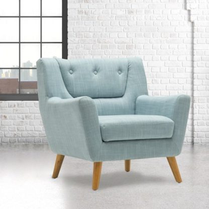 An Image of Stanwell Sofa Chair In Duck Egg Blue Fabric With Wooden Legs