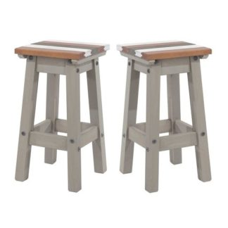 An Image of Corina Vintage Wooden Kitchen Stools In Grey Wax In A Pair