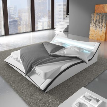 An Image of Stafford King Size Bed In White Faux Leather With LED Lighting