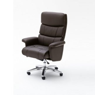 An Image of Bastian Home Office Chair In Brown Faux Leather With Rollers