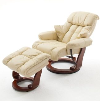 An Image of Calgary Swivel Relaxer Chair Leather With Foot Stool In Cream