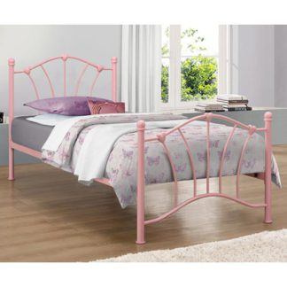 An Image of Sophia Steel Single Bed In Pink