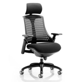 An Image of Flex Task Headrest Office Chair In Black Frame With Black Back